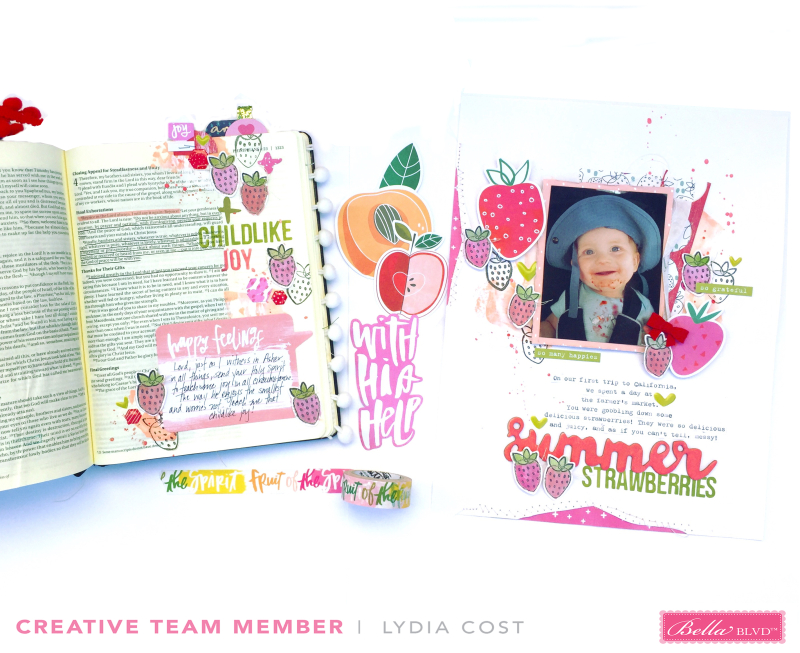 Bible journaling, scrapbooking, and card making inspriation from the Bella Blvd Creative Team using Illustrated Faith's Fruit of the Spirit Collection, Illustrated Faith's All People All Nations Collection, and Illustrated Faith's Basics Clear Stickers - February 2018