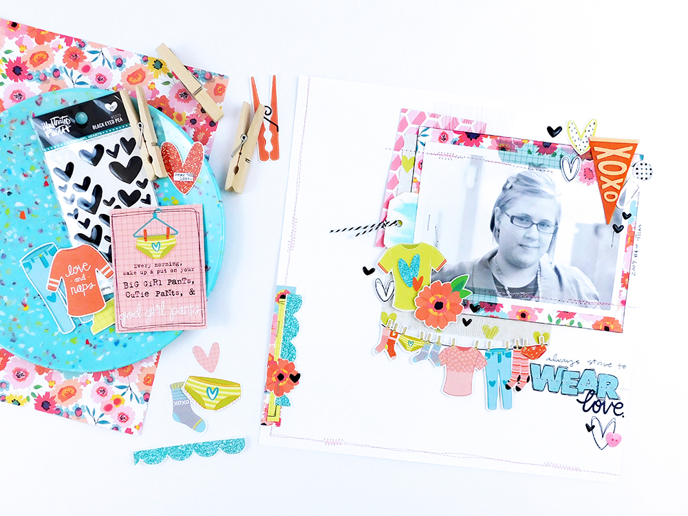 Hybrid Scrapbooking Page by Elaine Davis using digital printables and Bella Blvd's Mom Life | Always Strive to Wear Love