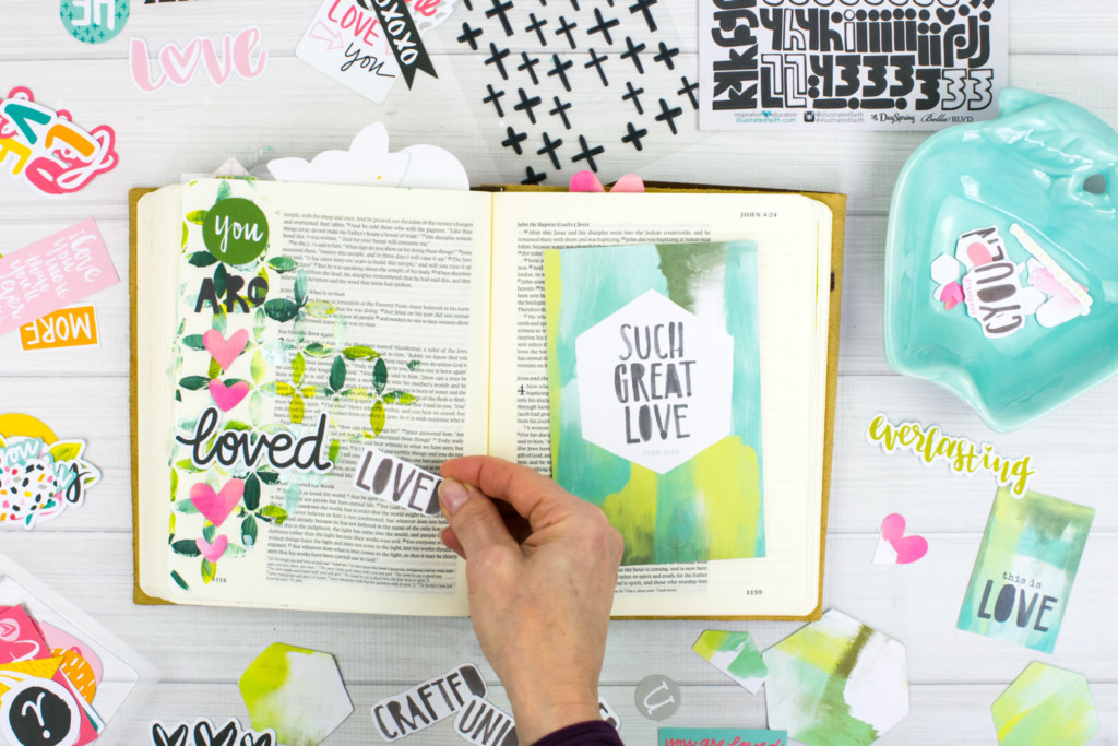 Mixed Media Bible Journaling Tutorial by Amy Bruce   John 3:16 - Stencils