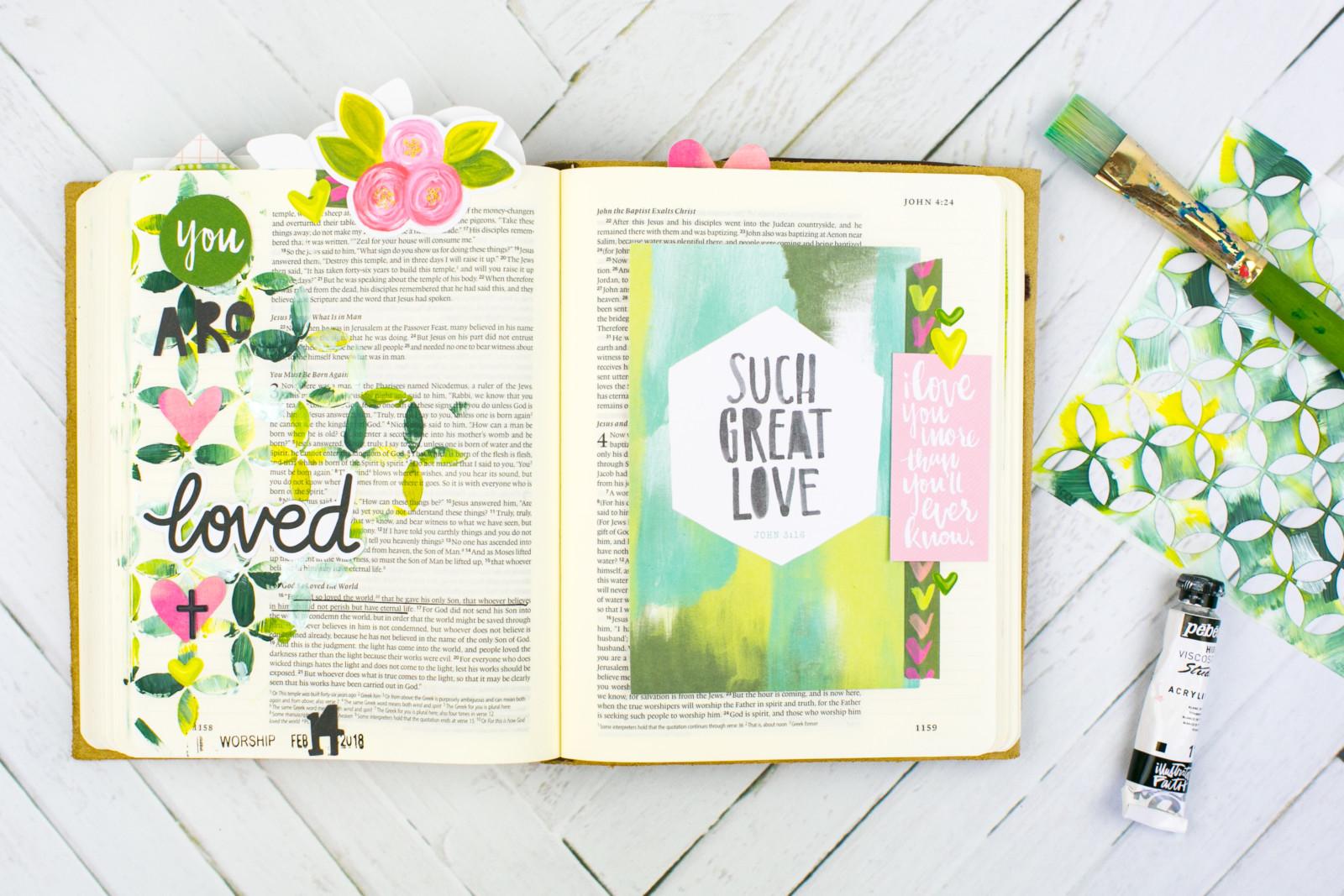 Mixed Media Bible Journaling Tutorial by Amy Bruce | John 3:16 - Stencils
