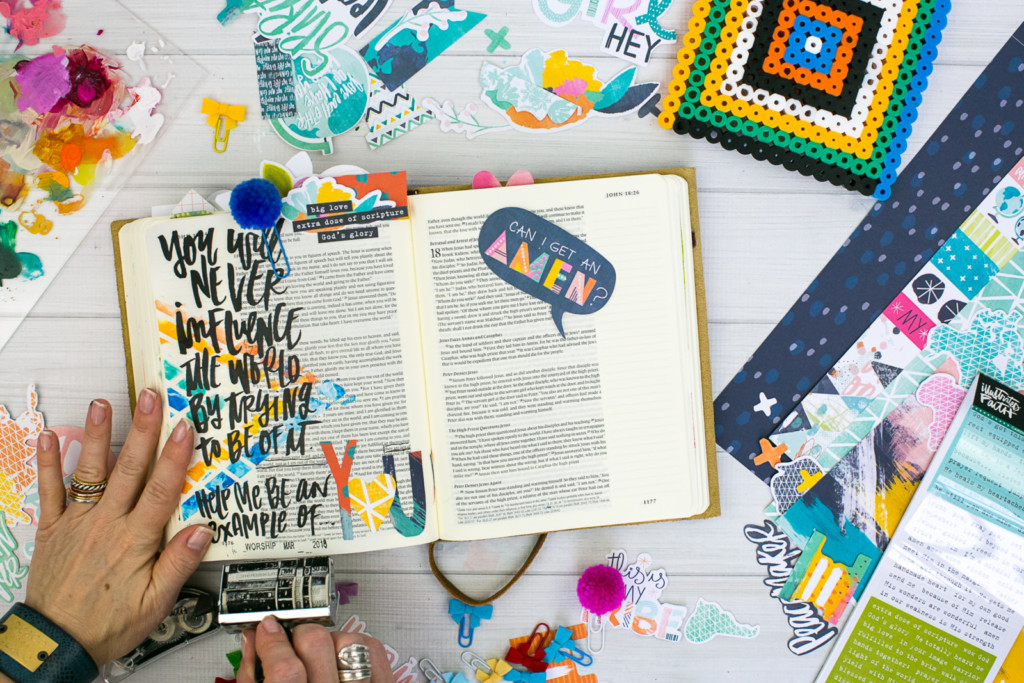 Mixed Media Bible Journaling Tutorial by Amy Bruce using Highligher Tape, All Peoples All Nations, and Brush Lettering Clear Stickers | Not of this World - Washi Tape Masking with Acrylics