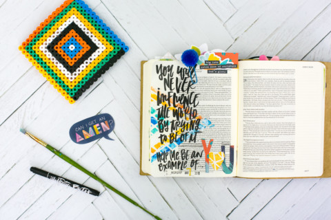 Mixed Media Bible Journaling Tutorial | Not of this World – Washi Tape Masking with Acrylics