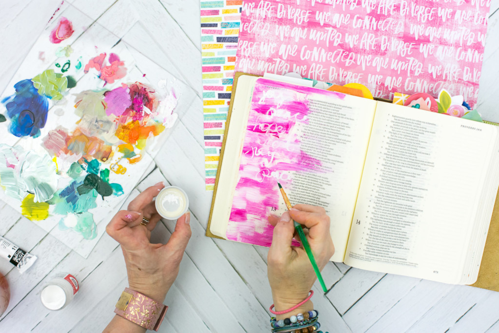 Mixed Media Bible Journaling Tutorial by Amy Bruce | Peacemaker - Acrylic Dry Brush and Letters