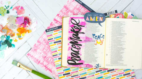 Mixed Media Bible Journaling Tutorial   Peacemaker – Acrylic Dry Brush and Letters