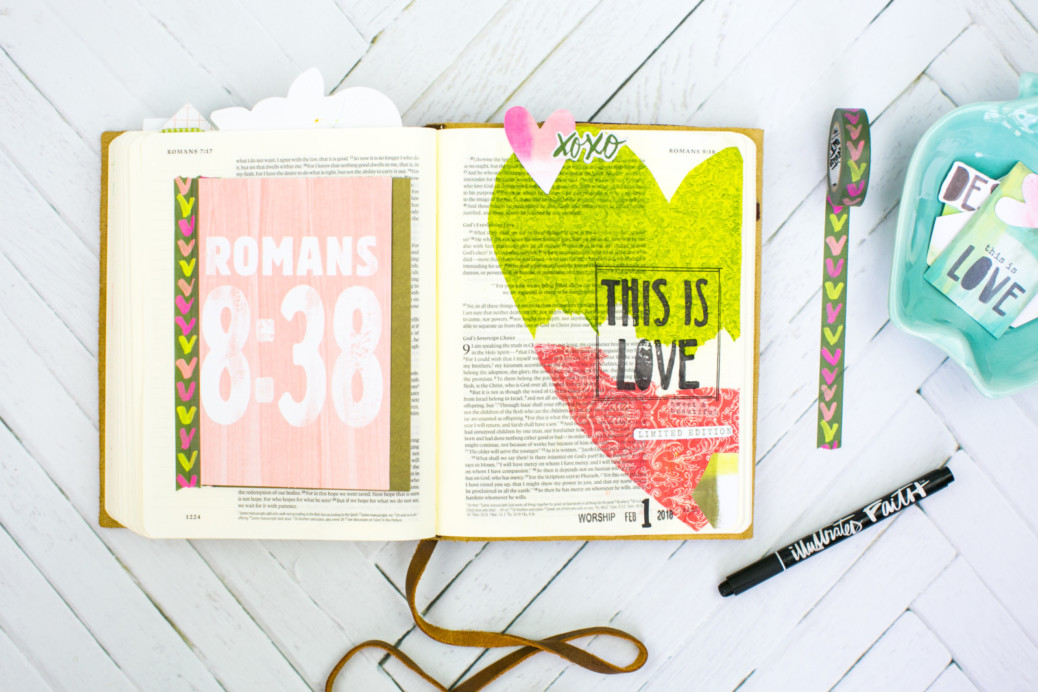 Mixed Media Bible Journaling Tutorial by Amy Bruce | This is Love - Napkins, Stamps, and Matte Medium