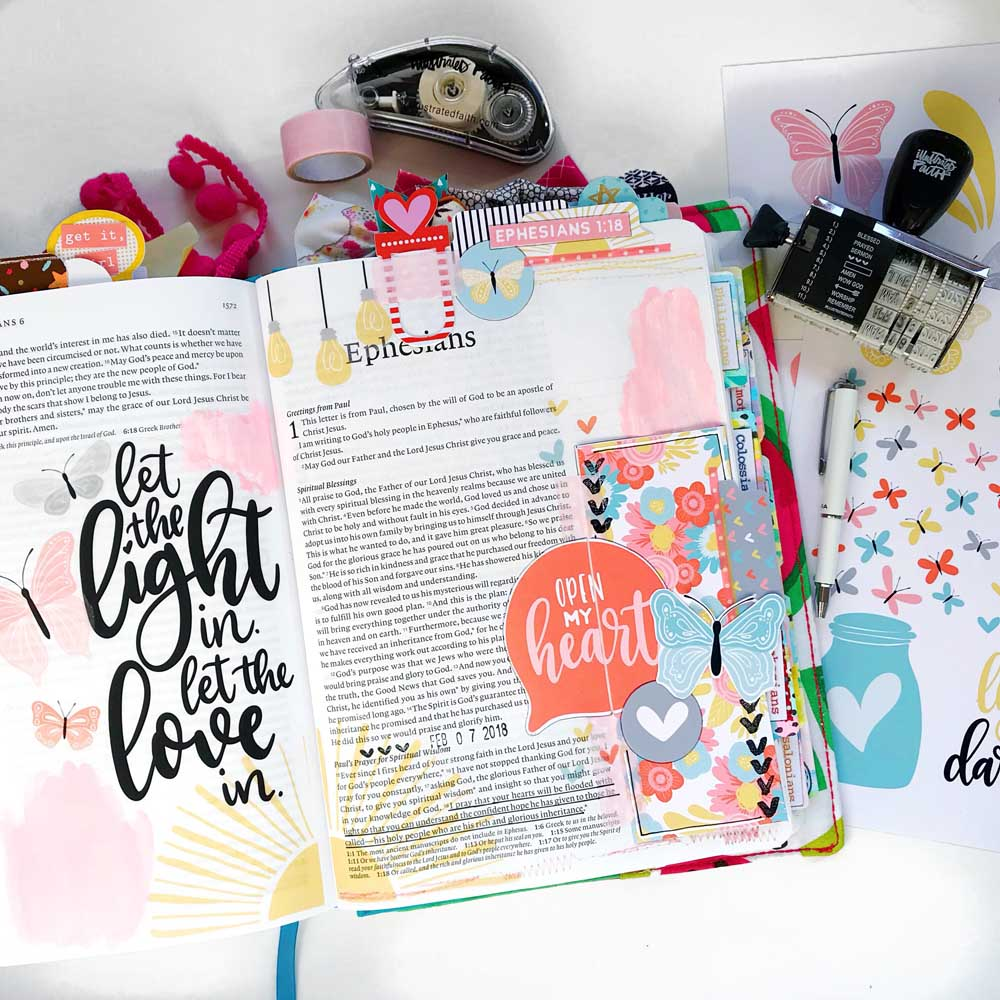 Mixed Media Hybrid Bible Journaling using digital printables by Cristin Howell | Open My Heart | Print and Pray Shop