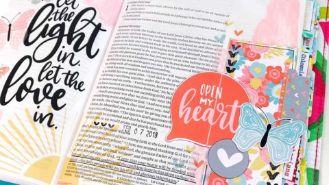 Mixed Media Hybrid Bible Journaling | Open My Heart