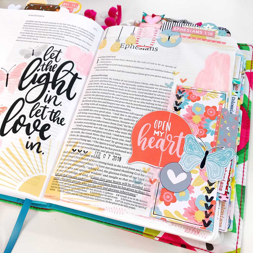 Mixed Media Hybrid Bible Journaling using digital printables by Cristin Howell   Open My Heart   Print and Pray Shop