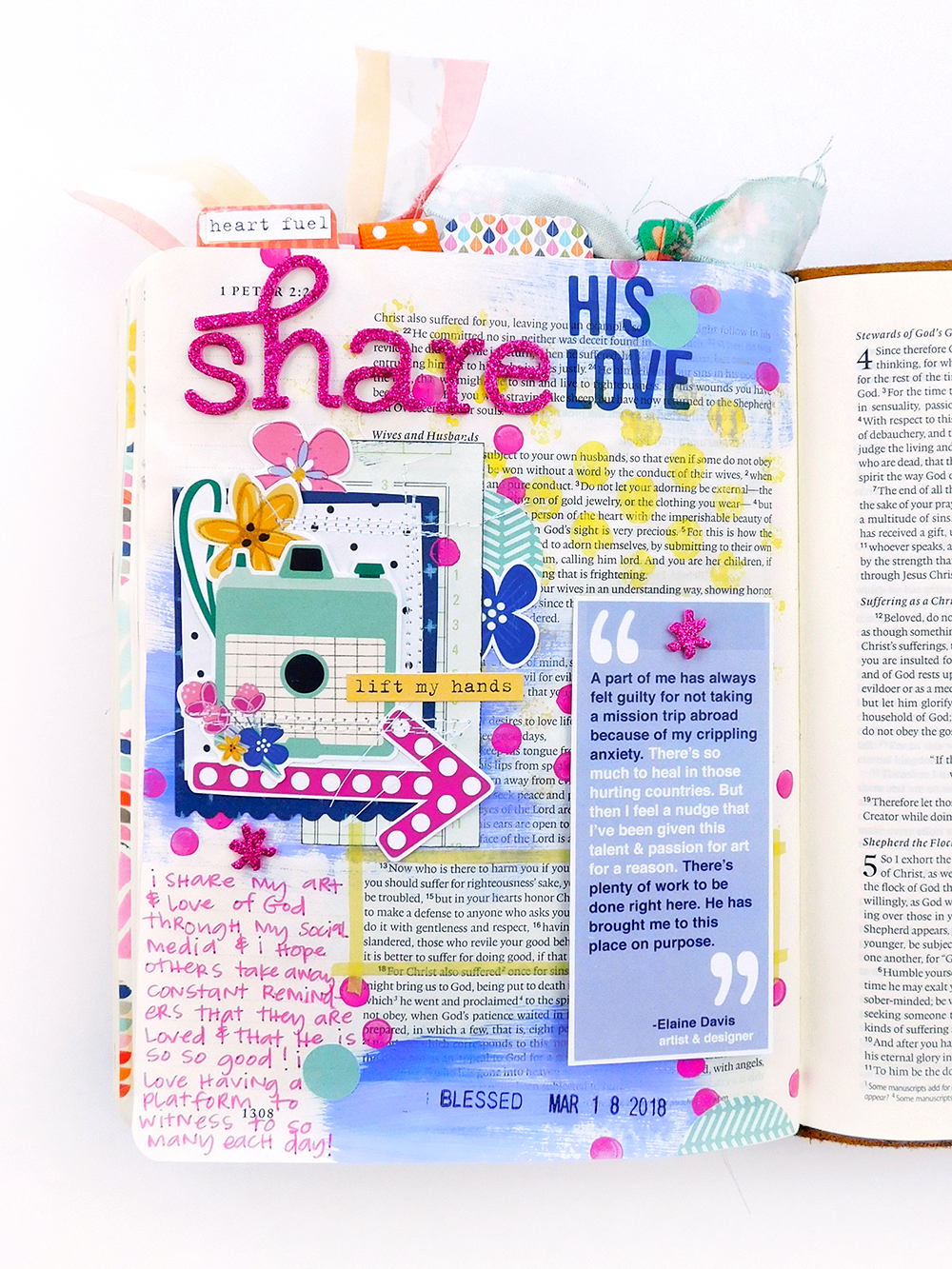 Mixed Media Hybrid Bible Journaling by Elaine Davis using digital printables | Insta-Love