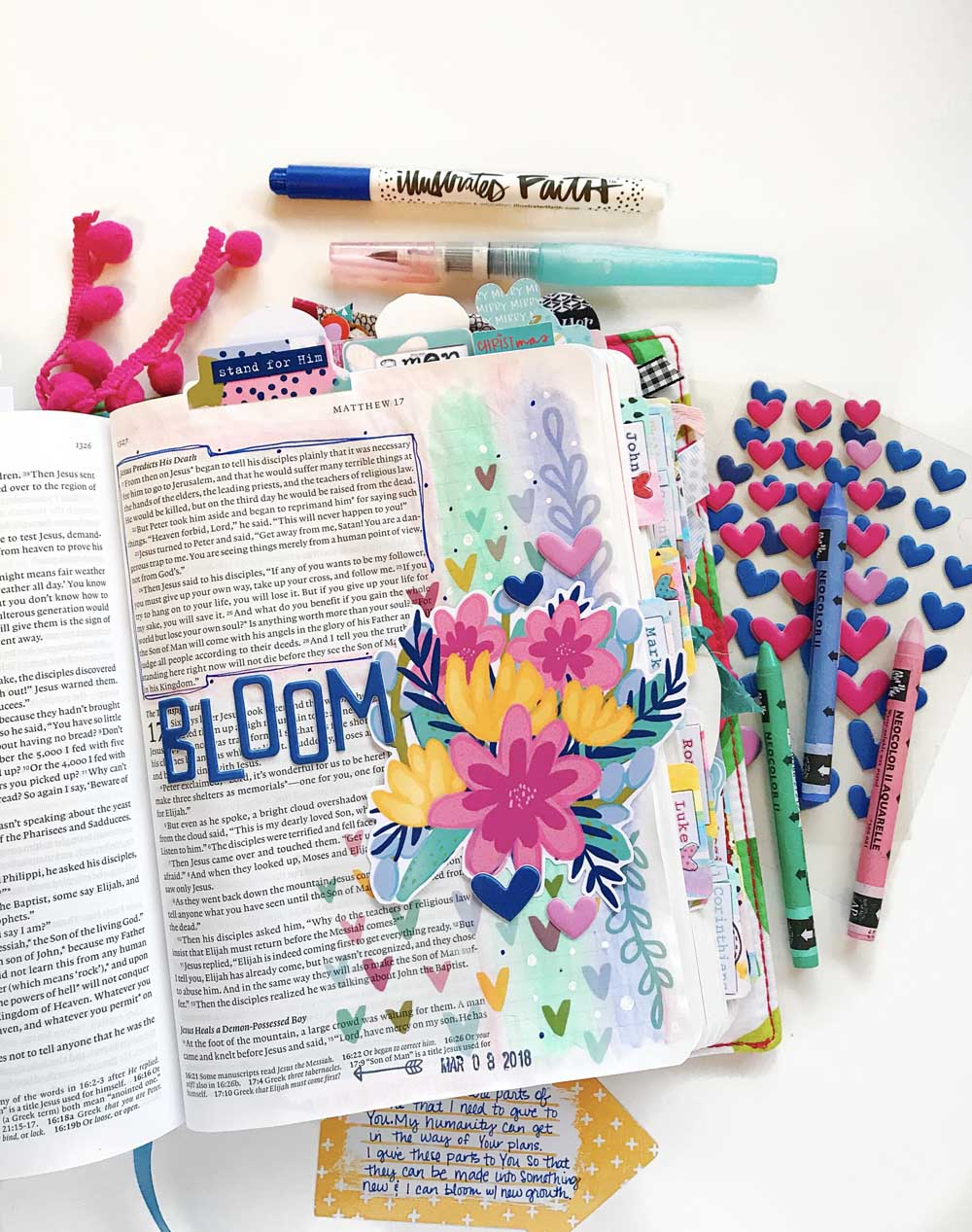 Mixed Media Hybrid Bible Journaling by Cristin Howell using digital printables   Print and Pray Holy Ground   Bloom