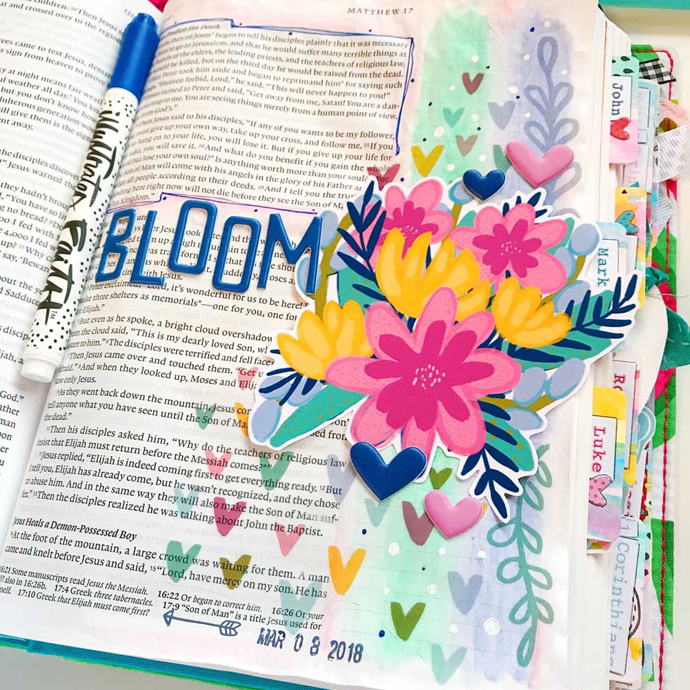 Mixed Media Hybrid Bible Journaling by Cristin Howell using digital printables | Print and Pray Holy Ground | Bloom