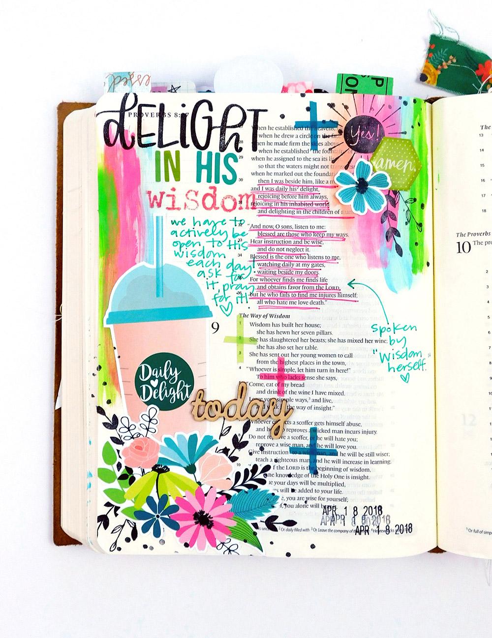 Print & Pray Hybrid Bible Journaling by Elaine Davis using digital printables | Daily Delight