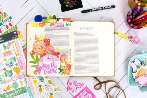 Mixed Media Bible Journaling Tutorial | Fruit of the Spirit – Neocolor II Crayons