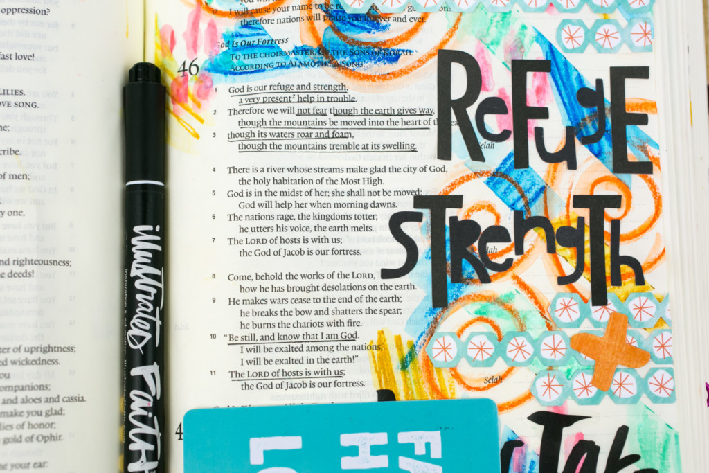 Mixed Media Bible Journaling Tutorial by Amy Bruce | Jesus Take Control | Washi Tape Masking and Gelatos