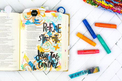 Mixed Media Bible Journaling Tutorial | Jesus Take Control | Washi Tape Masking and Gelatos