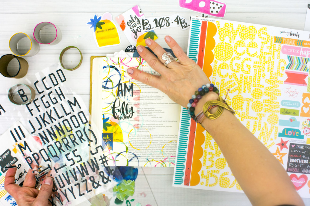 Mixed Media Bible Journaling Tutorial by Amy Bruce | Known - Fun with Acrylics and Cardboard Rolls