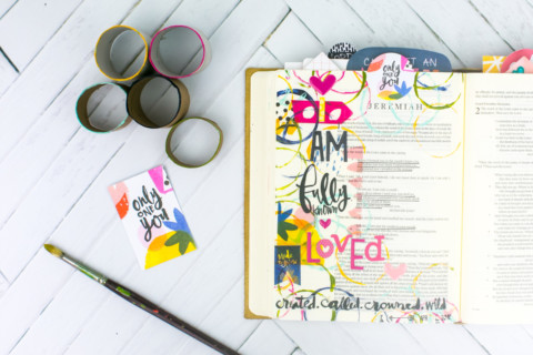 Mixed Media Bible Journaling Tutorial | Known – Fun with Acrylics and Cardboard Rolls