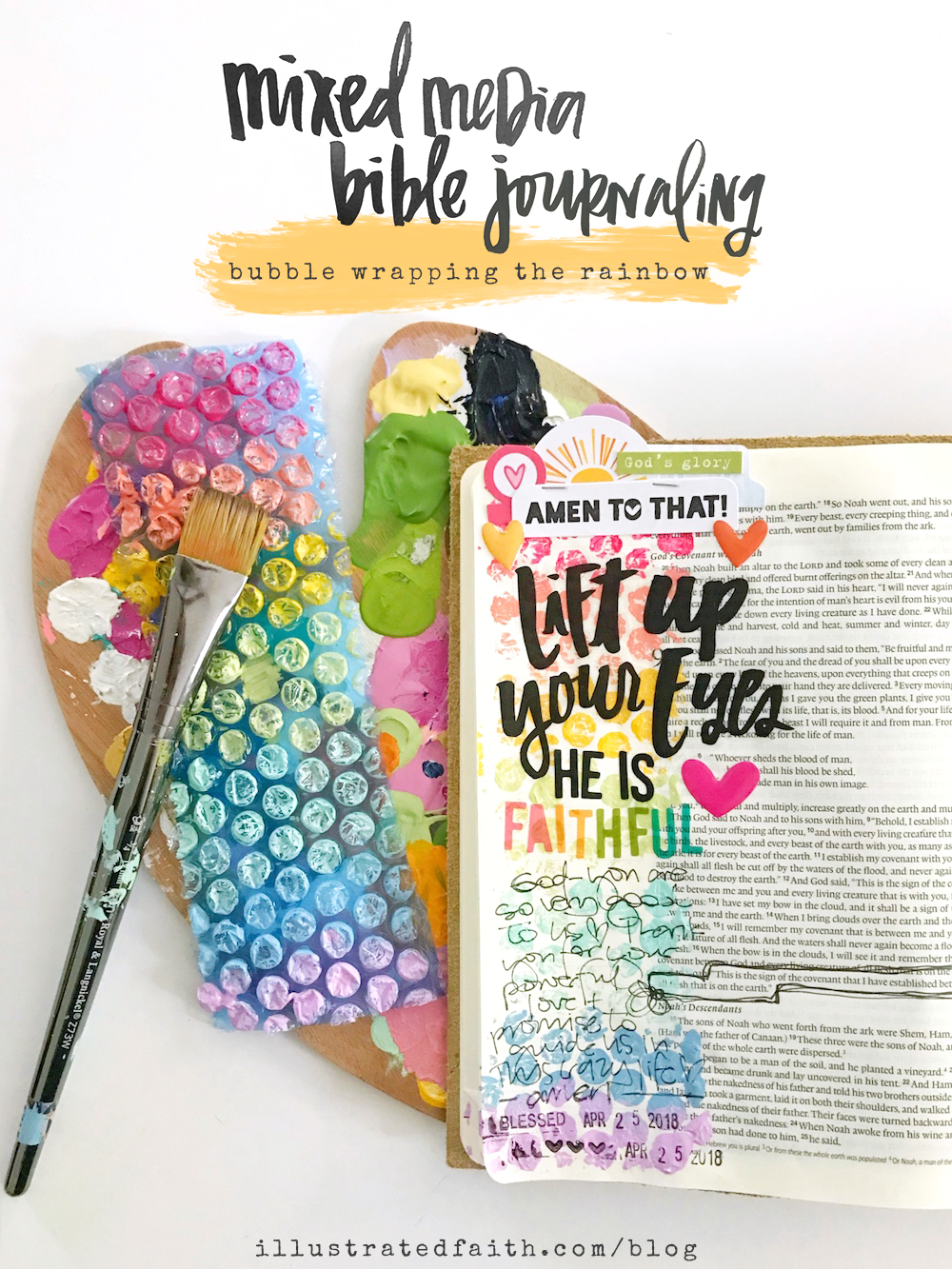 Mixed Media Bible Journaling Tutorial by April Crosier | Bubble Wrapping the Rainbow | Genesis 9