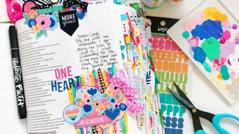 Mixed Media Print and Pray Bible Journaling | One Heart