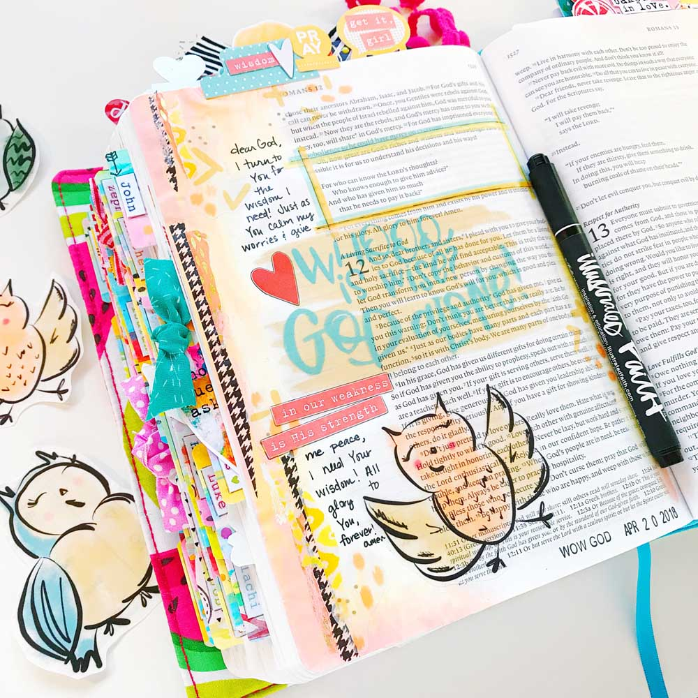 Print and Pray Hybrid Bible Journaling by Cristin Howell | Wise One