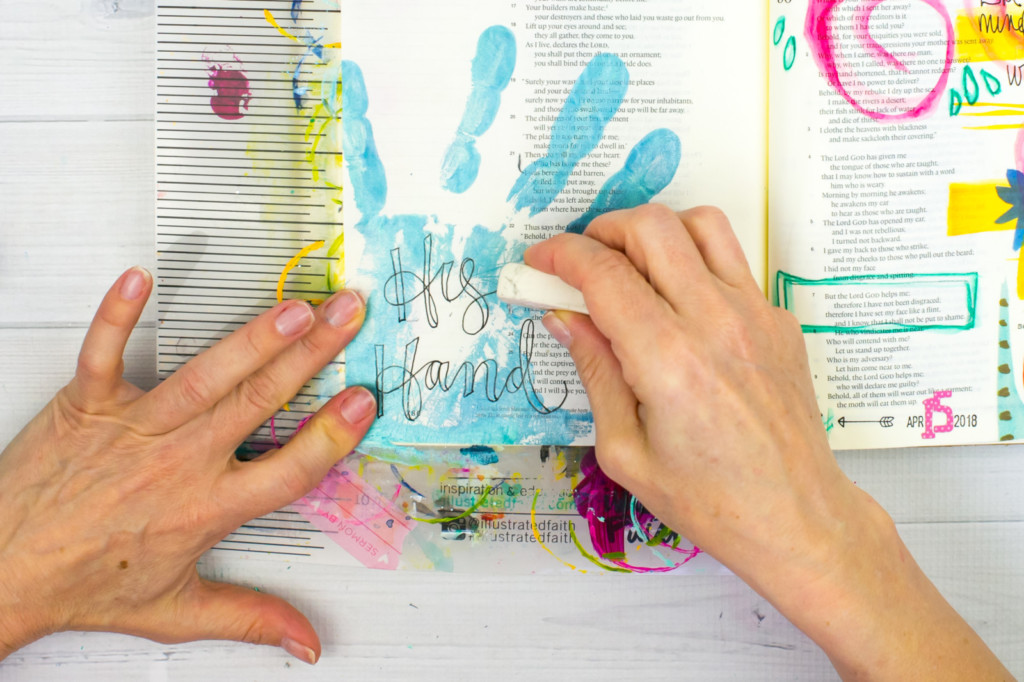 Mixed Media Bible Journaling Tutorial by Amy Bruce | His Hand | Acrylic Hand Printing