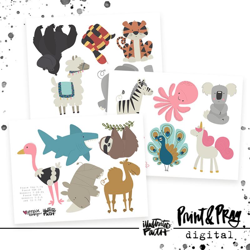 print pray kids cutouts animal friends vol 2 illustrated faith