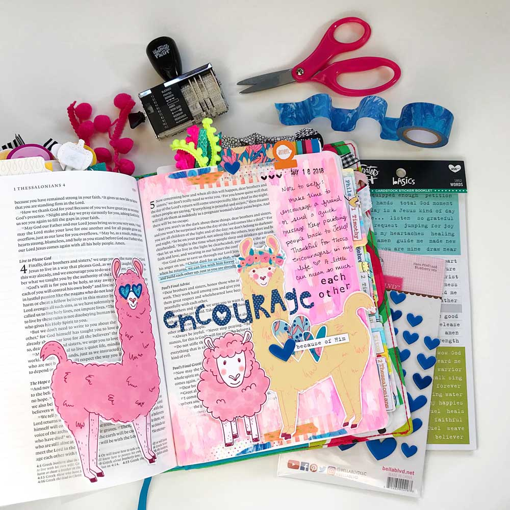Print and Pray Mixed Media Hybrid Bible Journaling by Cristin Howell using digital printables   Encourage Each Other
