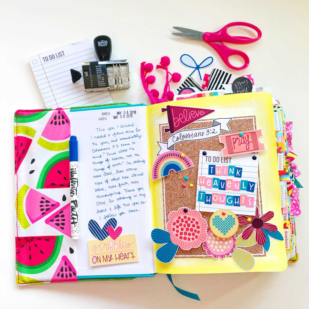 Print and Pray Hybrid Bible Journaling by Cristin Howell using digital printables | Heavenly Thoughts