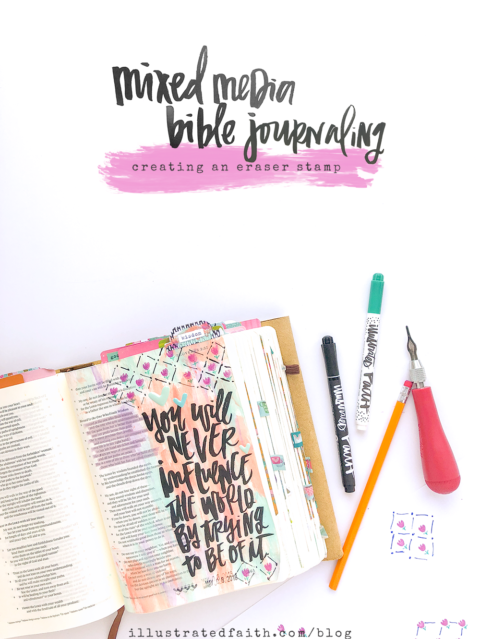 Mixed Media Bible Journaling Tutorial | Creating Eraser Stamps | Honoring Family Wisdom and Heritage