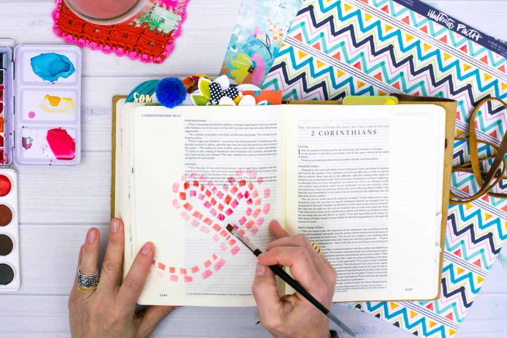 watercolor Bible journaling tutorial by Amy Bruce | stepping stone heart watercolor | called to love