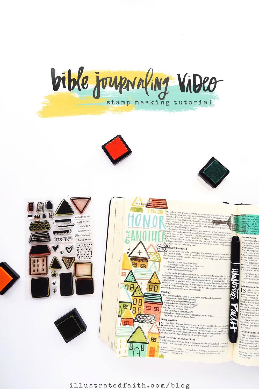bible journaling process video and tutorial by Jillian aka Hello Jillsky | stamp masking | Stronger Together devotional kit