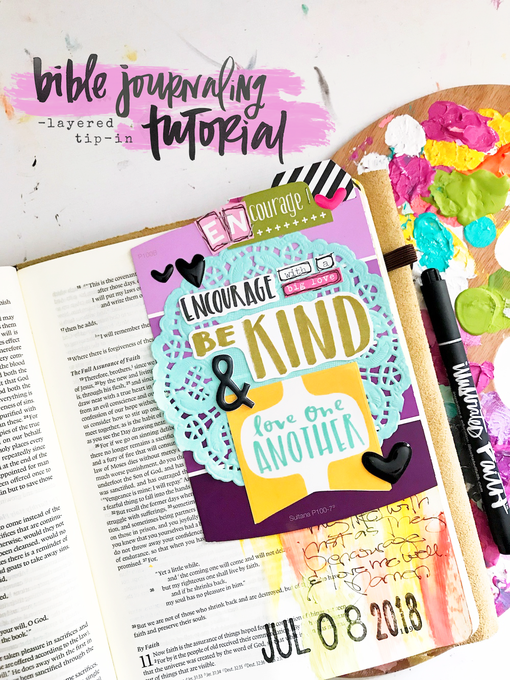 Bible Journaling - Layered Tip-In Technique by April Crosier | Encouraging One Another | Hebrews 10:25