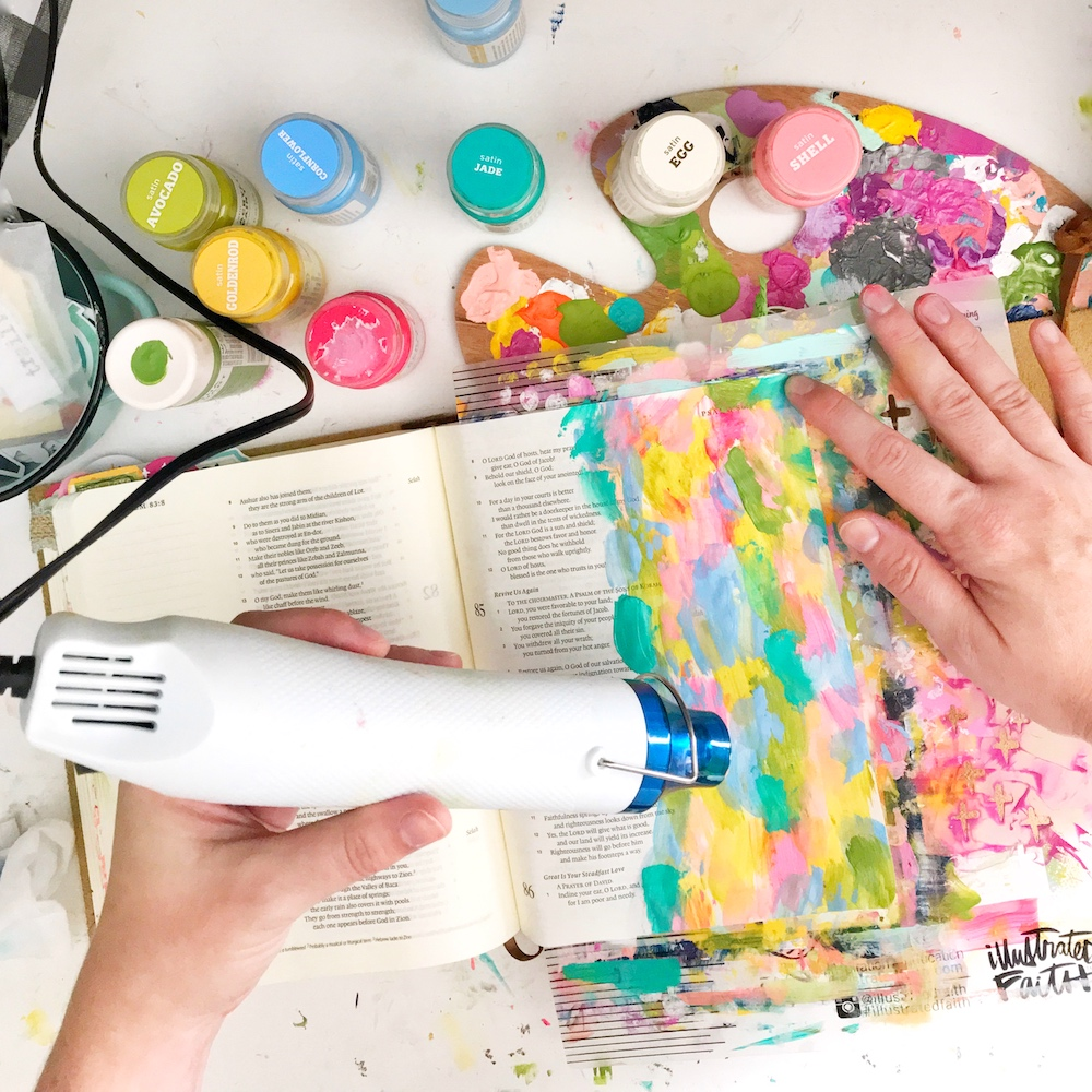 Bible Journaling Tutorial by April Crosier aka Marine Parents | Praying in a Revival | Faux Stained-Glass Margin | Psalm 85:6