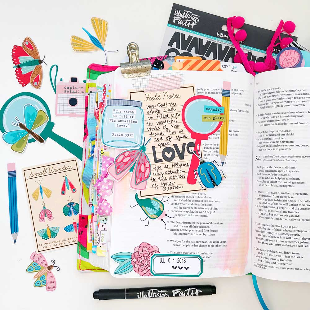 Hybrid Print and Pray Bible Journaling by Cristin Howell | Unfailing Love | Psalm 33:5