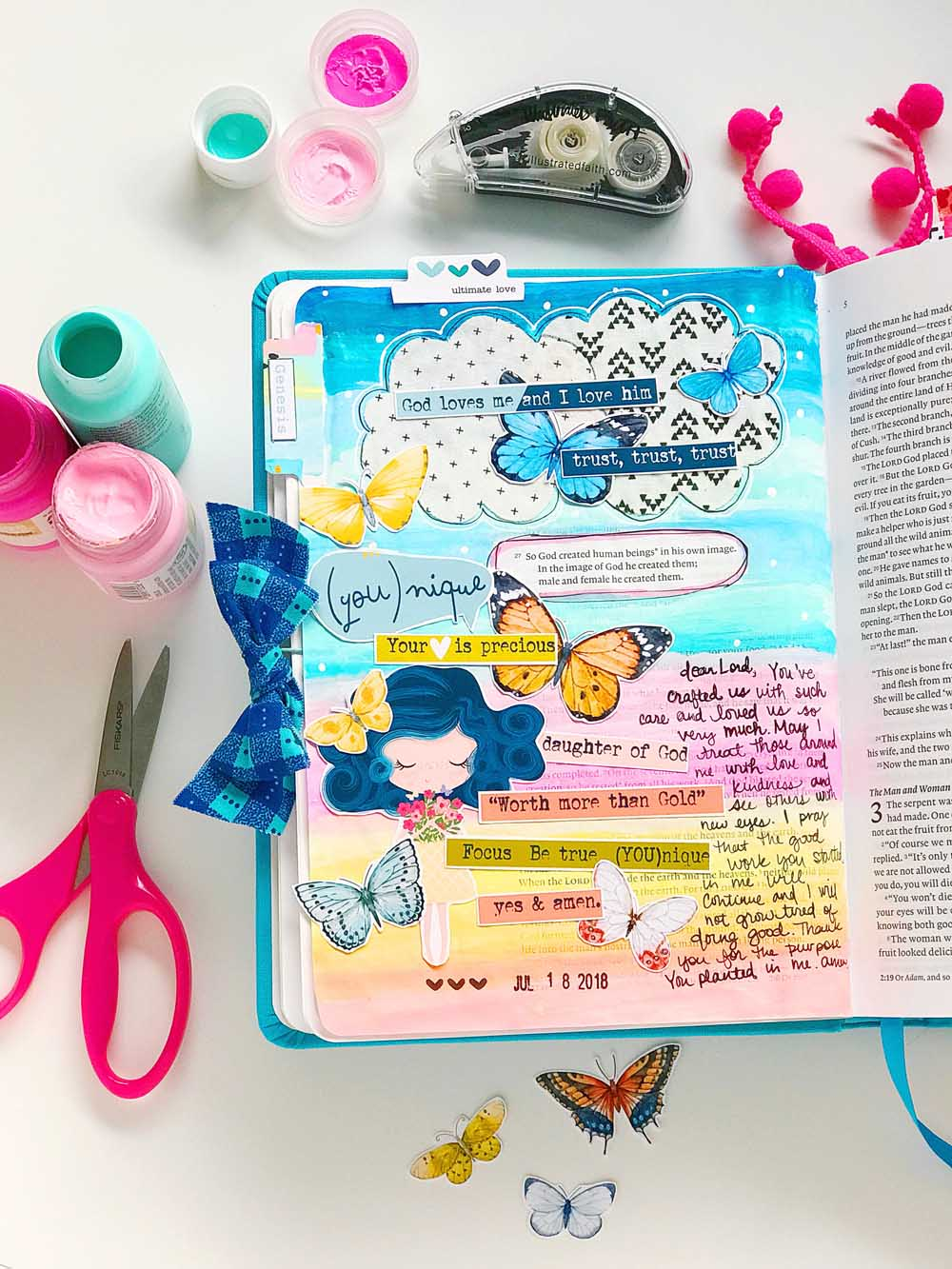 Hybrid Print and Pray Bible Journaling by Cristin Howell   Precious Hearts