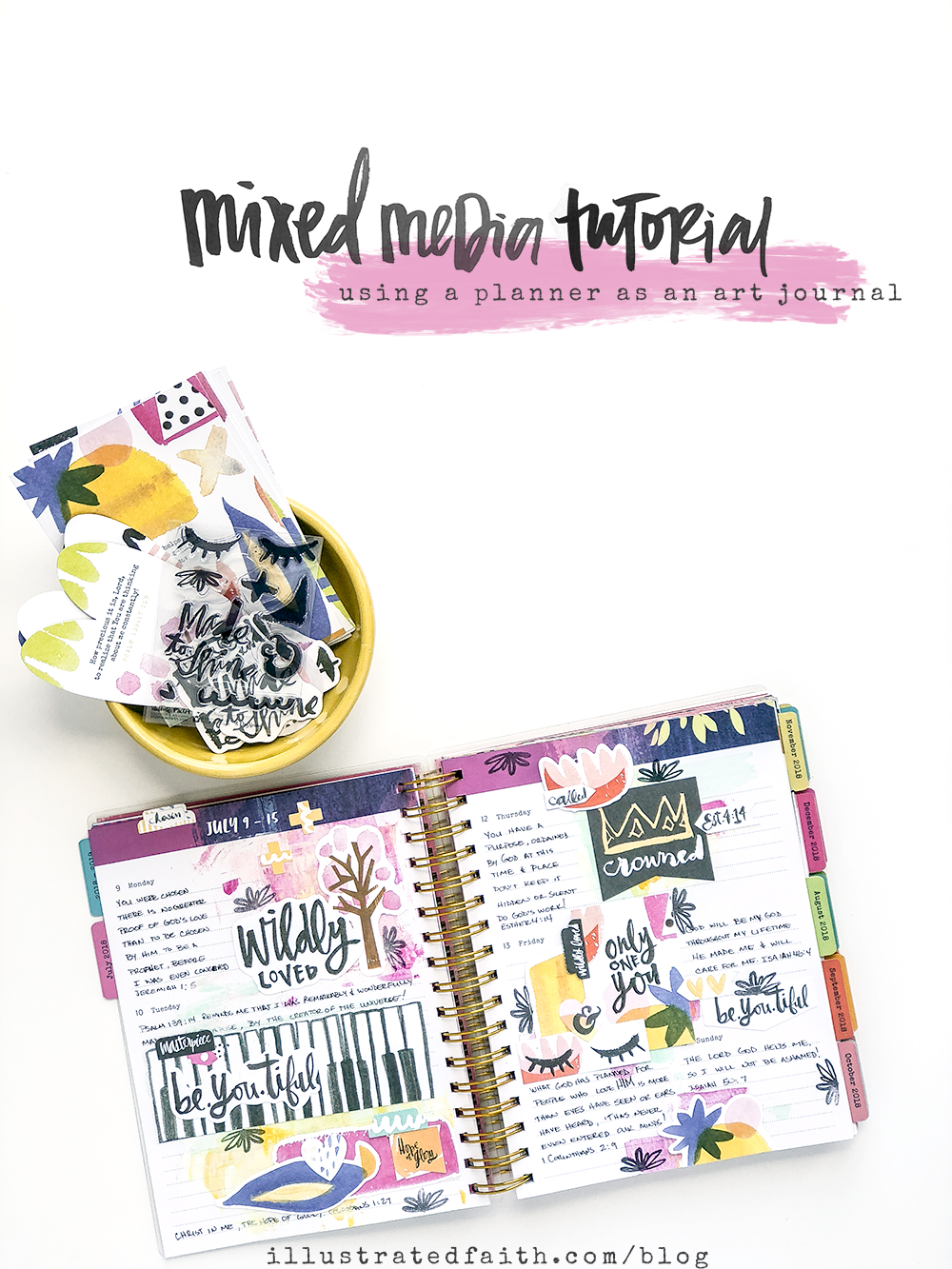 Mixed Media Tutorial by Heather Greenwood - Using a Planner as an Art Journal | Let's Go Through Our Leftover Devotional Kit Supplies