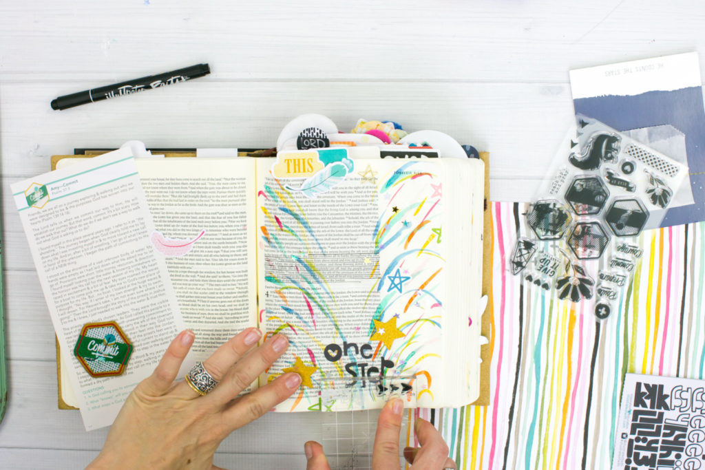 Watercolor Bible Journaling Tutorial by Amy Bruce | Revival Camp - Commit - Watercolor Sprays