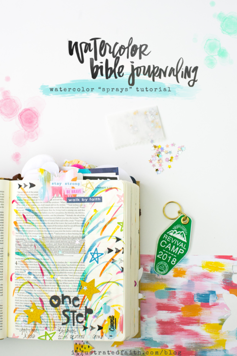 Watercolor Bible Journaling Tutorial | Revival Camp – Commit – Watercolor Sprays