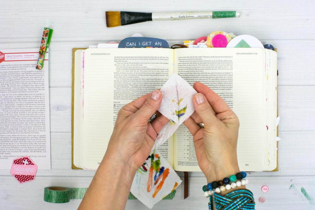 Mixed Media Bible Journaling Tutorial by Amy Bruce | Community and Fellowship | Paper Towel Brush Scraps | Revival Camp