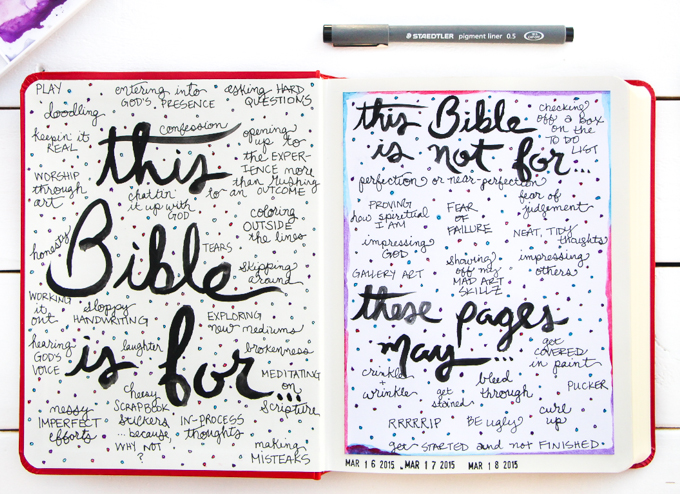 "Permission Pages: Journaling Bible Process Video | Here's a glimpse at the NEW Permission Pages Devotional Kit by Lauren Lanker! Designed to support you in creating your own set of permission pages where you can boldly declare the permission you've been granted by God to be free–declaring what ""This Bible is for"" (asking questions and making mistakes) and what ""This Bible is not for"" (proving my worth or giving in to fear). Be inspired!"