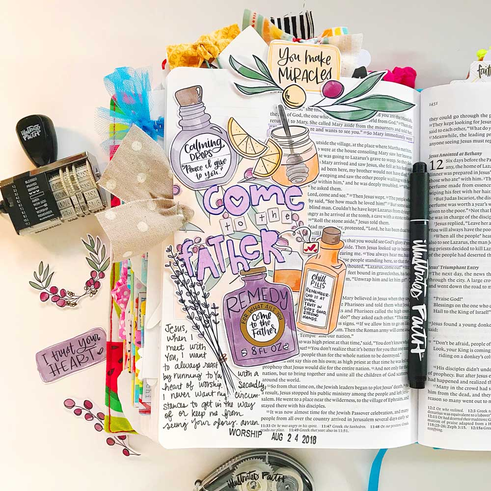 Print and Pray Hybrid Bible Journaling by Cristin Howell | Come to the Father