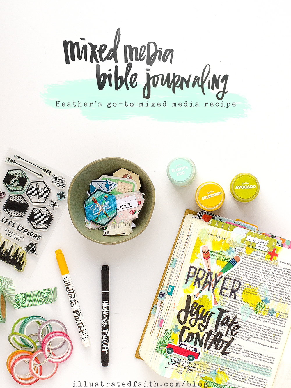 mixed media Bible journaling tutorial by Heather Greenwood | Heather's go-to recipe for Bible journaling | Revival Camp 2018 - Prayer | Philippians 4:6-7