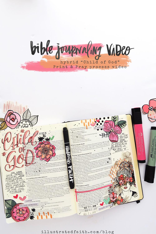 Print and Pray Hybrid Bible Journaling Process Video by Jillian aka Hello Jillsky using digital printables   Girl of God