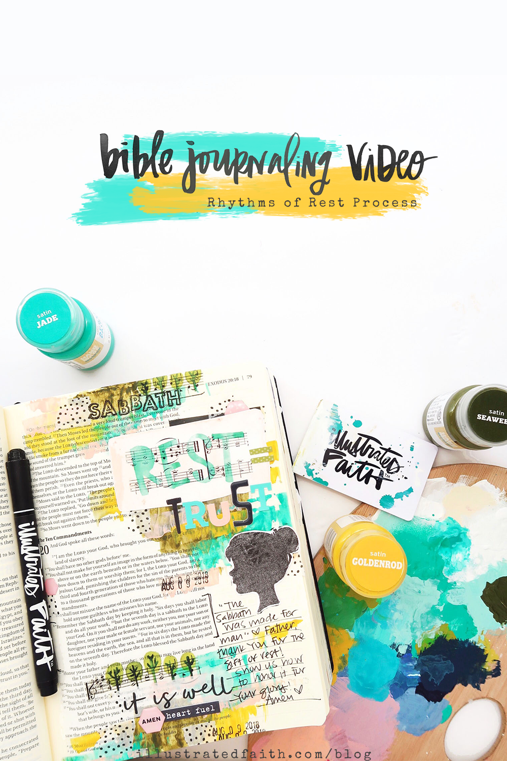 Print and Pray Bible Journaling Process Video by Jillian aka Hello Jillsky | Rhythms of Rest