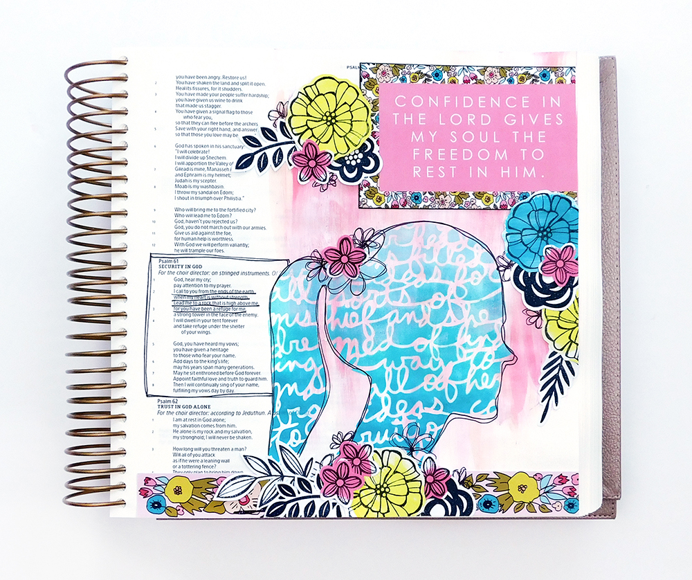 Print & Pray Hybrid Bible Journaling by Elaine Davis using digital printables | More Than Confidence | Illustrating Bible