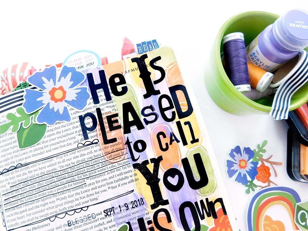 Print & Pray Hybrid Bible Journaling by Elaine Davis using digital printables | His Own | 1 Samuel 20-22