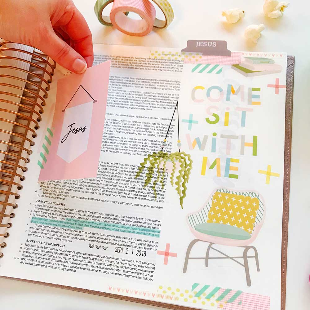 Print and Pray Hybrid Bible Journaling by Cristin Howell using digital printables | Come Sit With Me | Philippians 4:6-7