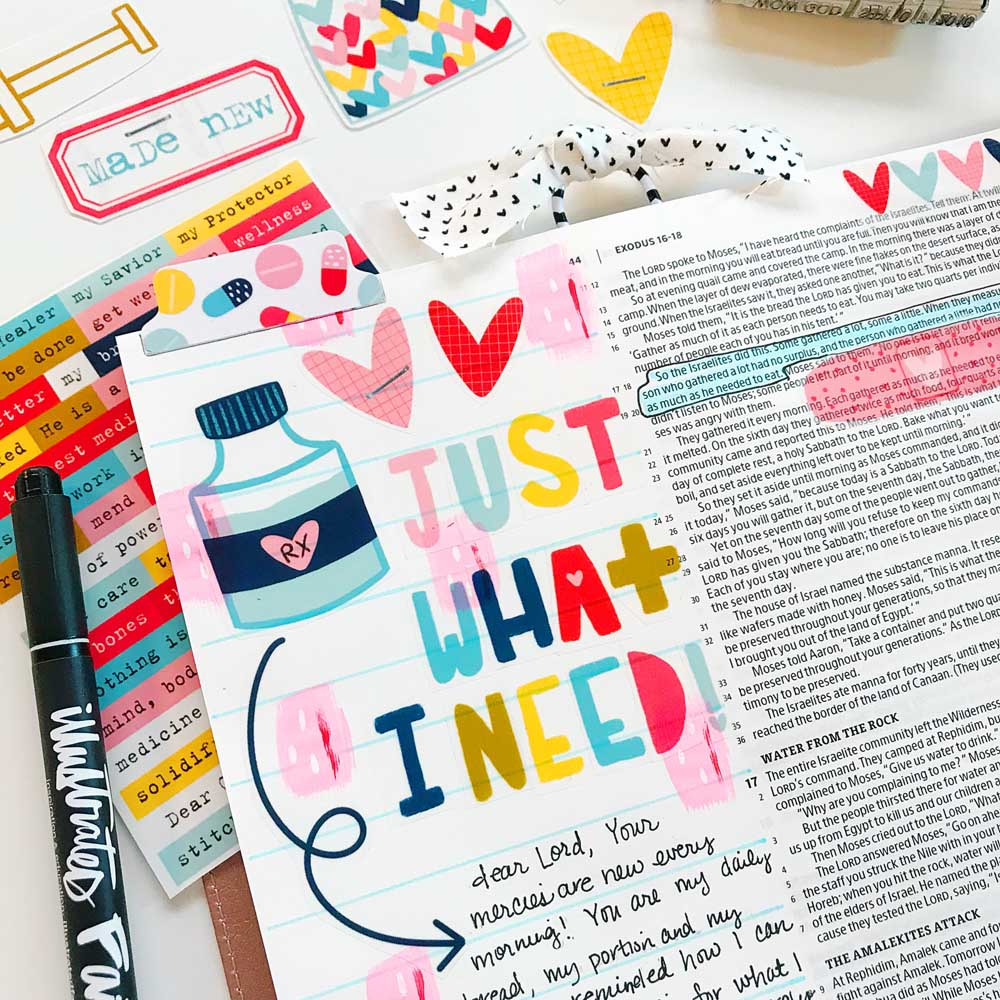 Print and Pray Hybrid Bible Journaling by Cristin Howell using digital printables | Just What I Need!