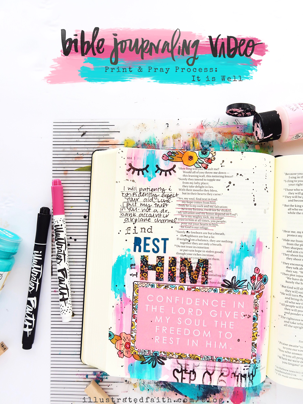 Print and Pray Bible Journaling Process Video by Jillian aka Hello Jillsky | It Is Well