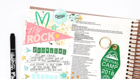 Bible Journaling Process Video | Revival Camp Courage | Psalm 18:2 | Illustrating Bible
